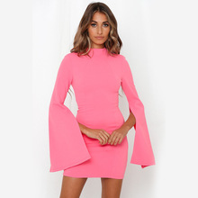 New Sexy Dresses Party Night Club Dress 2019 Autumn Fashion O-neck Open Back Pencil Womens Mini Boho Women Clothes