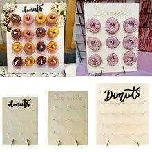 Parti dekorasyon 35/40/45cm Donut standı ahşap Donut ekran kartı doğum günü süslemeleri doğum günü malzemeleri bebek duş dekor