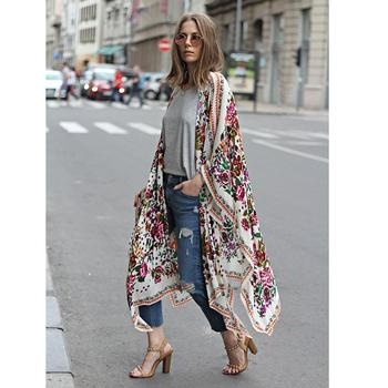 Cárdigan tipo Kimono para mujer, cárdigan con estampado Floral de leopardo, ropa de abrigo asimétrica Bohemia, Kimono largo de talla grande 3XL 5XL para verano 2020