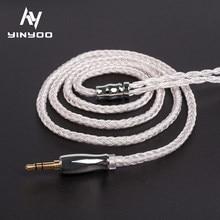 Yinyoo 16 сердечник высокой чистоты посеребренный кабель 2,5/3,5/4,4 мм с MMCX/2PIN/QDC/TFZ для BLON BL-01 BL-03 KBEAR KS2 с изображениями Жаворонков, плотным верхним во...