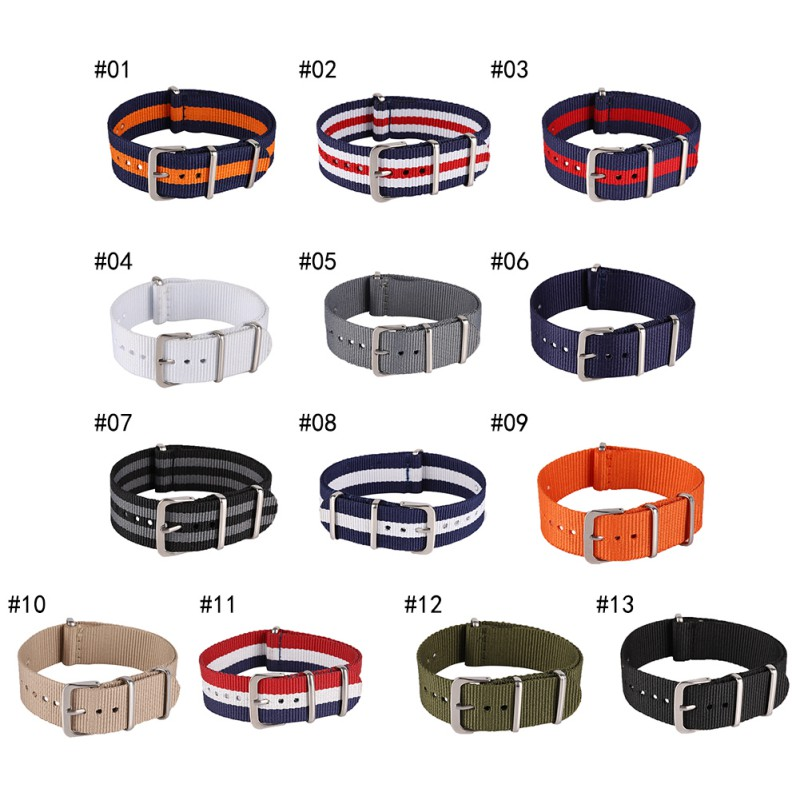 18 20 22  Mm Brand Army Sports Nato Fabric Nylon Bands Buckle Belt Watchband Accessories For 007 James Bond Watch Strap W2