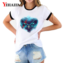 Women T Shirts Nebula Owl 3D Print Animal Graphic Tees Summer Short Sleeve Casual White T-Shirt Hip Hop Unisex Tops цена