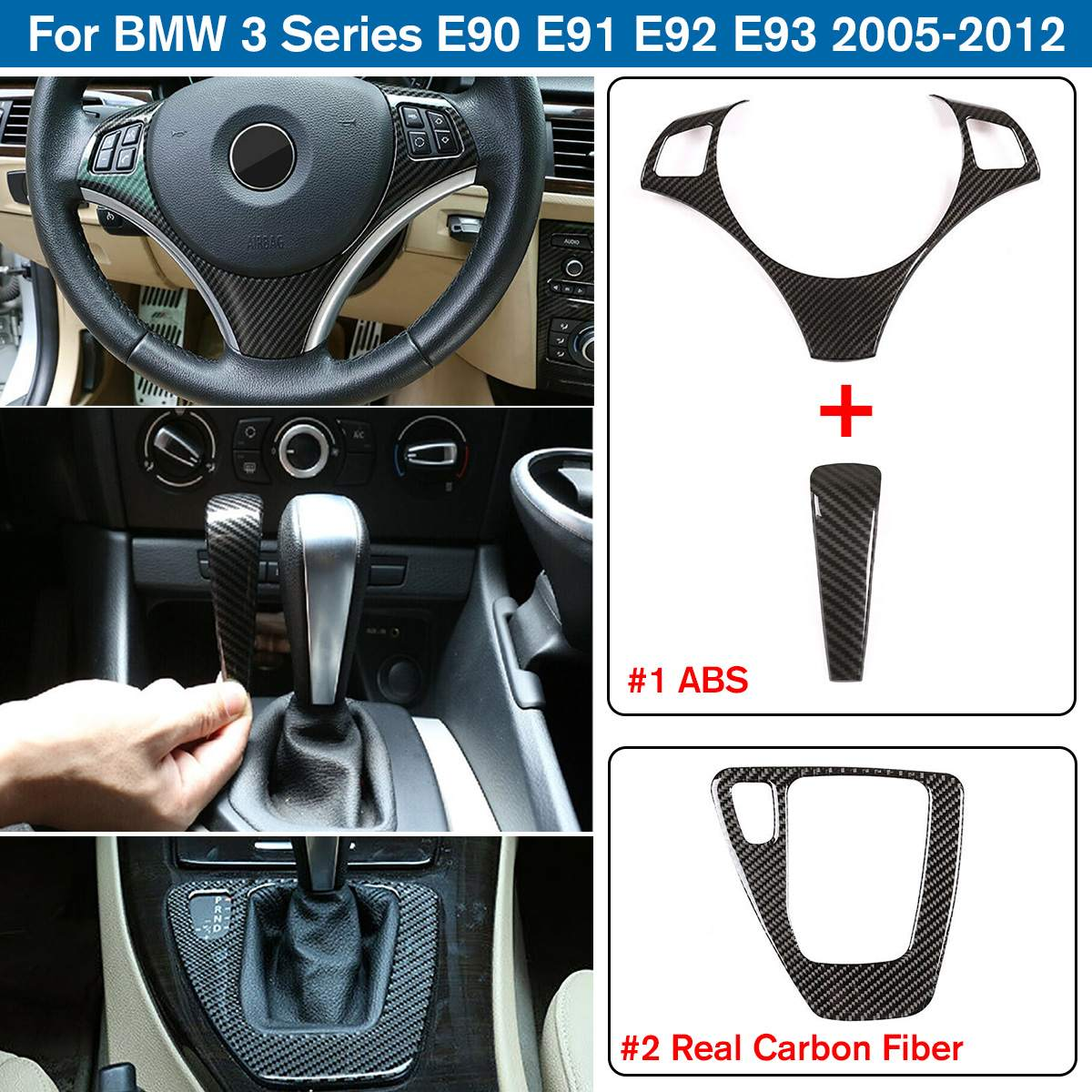 <font><b>Carbon</b></font> <font><b>Fiber</b></font> Style Car <font><b>Interior</b></font> Steering Wheel and Gear Shift Box Panel Cover Trim Sticker For <font><b>BMW</b></font> 3 Series <font><b>E90</b></font> E92 E93 05-12 image
