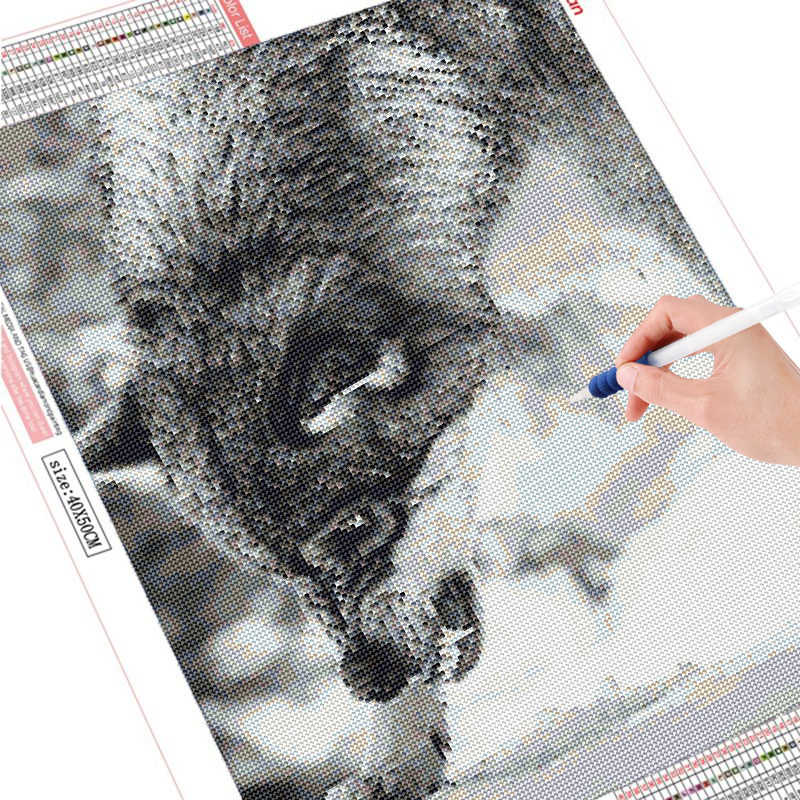 Wolf Diy Volledige Diamond Verf Cartoon Diamant Borduurwerk Dier Mozaïek Kruissteek Woondecoratie Schilderen