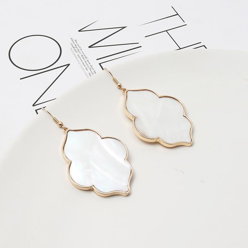 ZWPON Fashion Morocco Zinc Alloy Abalone Shell Wood Snakeskin Earrings Simple Geometric I Abalone Earrings for Woman Jewelry