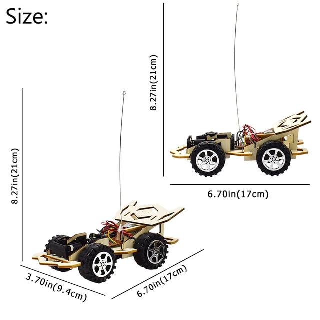 Remote Control Phantom Racing Model Kit Car Toy for Boys DIY Manual Assembly Wooden Model Electric Robotics Educational Kits Car 3
