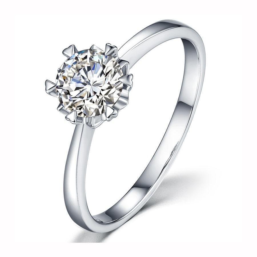Classique 925 argent sterling 3ct Moissanite bague laboratoire diamant rond brillant coupe bijoux bague de mariage fiançailles style flocon de neige
