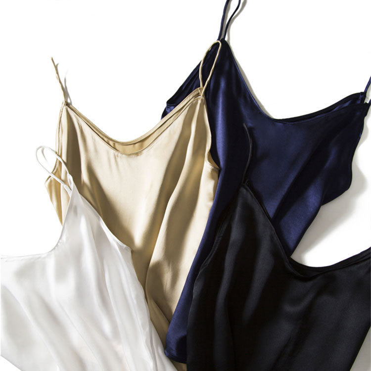 Four-color Silk Camisole Women's Autumn 2021 New Style Inner Satin Silk Bottoming Shirt For Women