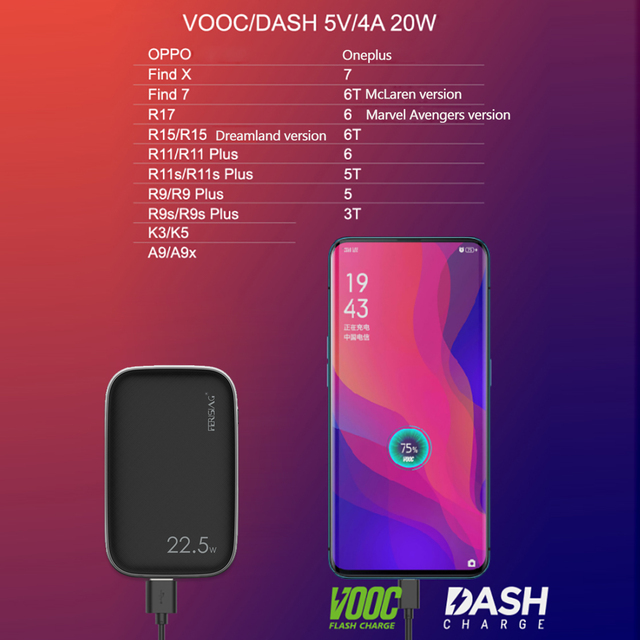 FERISING 10000mAh 5A Power Bank 22.5W USB Phone External Battery Charger VOOC SCP Quick Charge 3.0 PD For Huawei Mi10 Powerbank