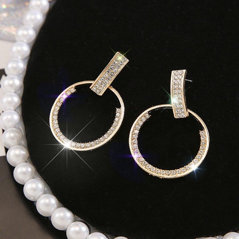 LETAPI 2020 New Fashion Long Geometric Drop Earrings Luxury Gold Silver Color Rhinestone Earring for Women Party Jewelry