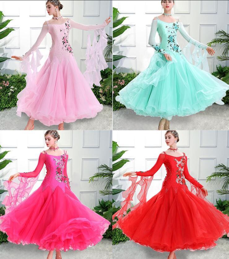 Vestido de salão de baile padrão vermelho verde vestido de dança vestido de valsa