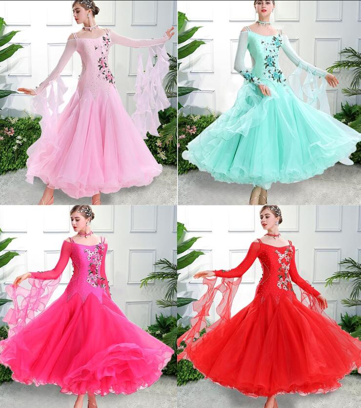 Vestiti Da Ballo Standard Donna Waltz Dress   Vals Dance Dress Kadın Standard Ballroom Dress Green Red Customize