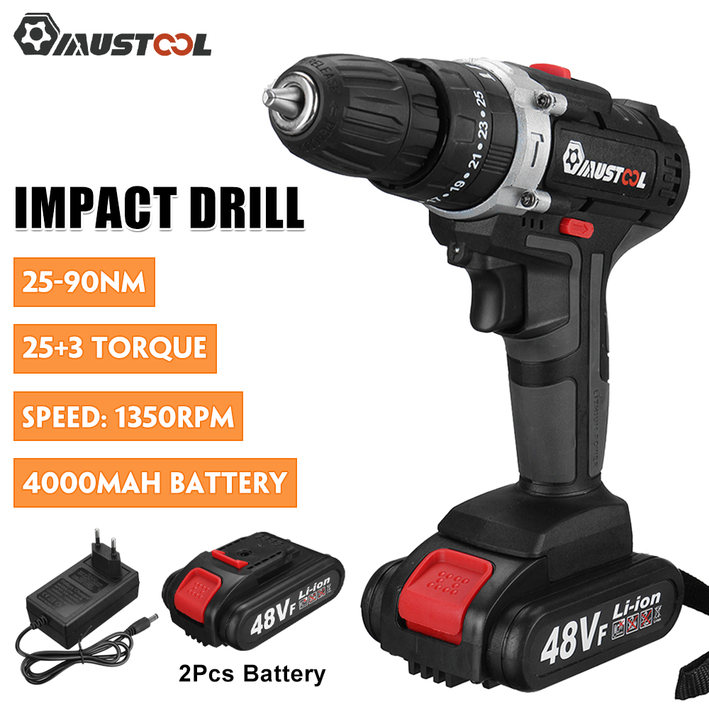 MUSTOOL 48V 3 in 1 Brushless Electric Screwdriver Electric Hammer Drill 25 3 Torque Cordless Impact Drill with 1 2 Battery