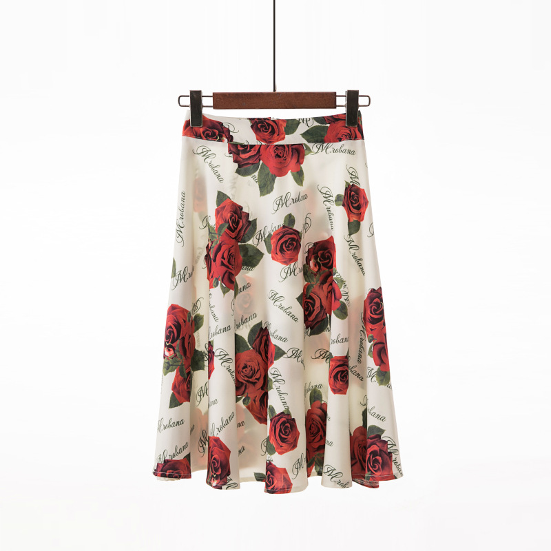 DeRuiLaDy 2019 New Women Vintage Floral Print Skirt High Waist Slim Office Skirts Womens Casual Pleated Skirt Plus Size Moda
