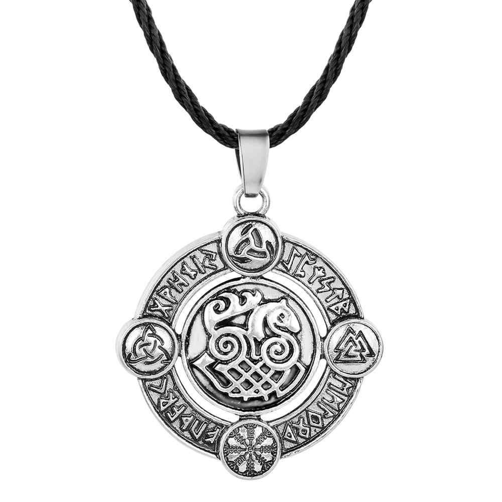 QIAMNI Gothic Norse Elder Futhark Runes Horse Amulet Necklace Pendant  Helm of Awe Odin's Horn Triquetra Viking Jewelry Choker