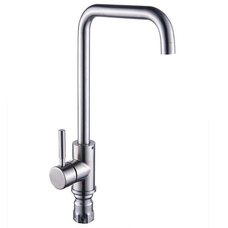 Kitchen Sink Mixer Taps Single Lever Handle Swivel Spout Tap Faucet Brushed