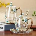 Flor bonita chá copos de vidro esmalte copo de café e caneca para bebidas quentes e frias casa xícara de chá colher conjunto perfeito presente de casamento
