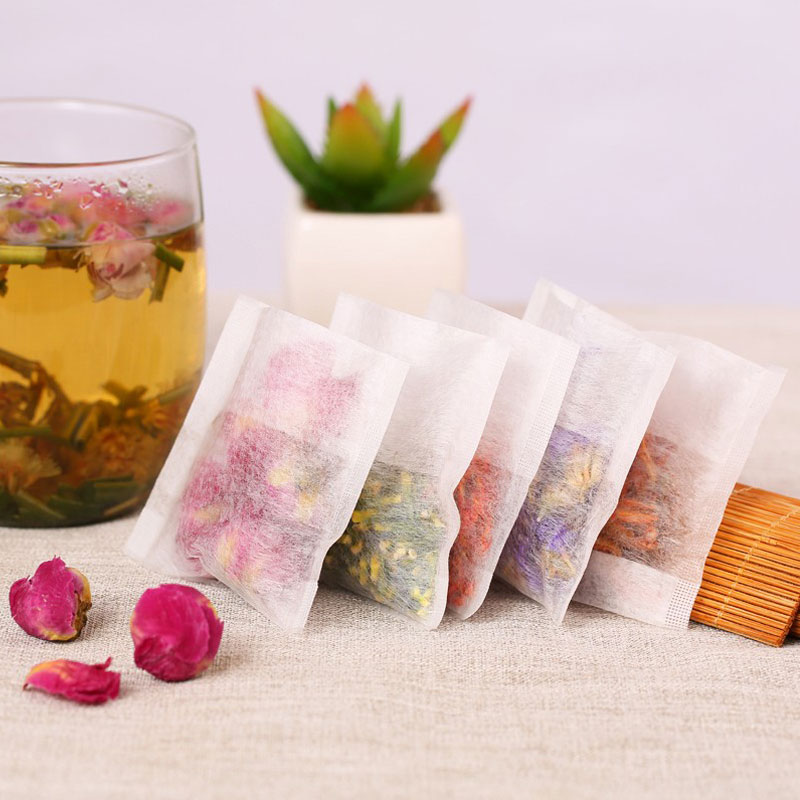 100 Pcs/lot 6*8CM Empty Tea Bags Filter Paper Herb Loose Disposable Teabags Tea infuser Strainer