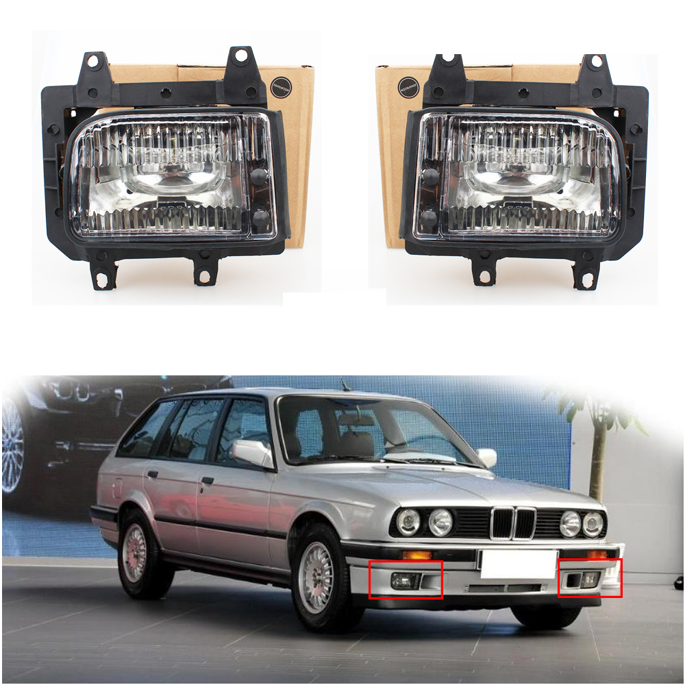1 set car lights Front Fog Lights fog Lamps For <font><b>BMW</b></font> <font><b>E30</b></font> 318i 318is 325i <font><b>325is</b></font> 325e 325es Clear Lens Cover 325iX Halogen bulbs image