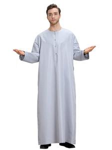 Image 5 - Uomini musulmani Jubba Thobe Kimono Lungo Abito Caftano Solido Arabia Musulman Usura Abaya Caftano Islam Dubai Arabo Vestito di Abbigliamento Islamico