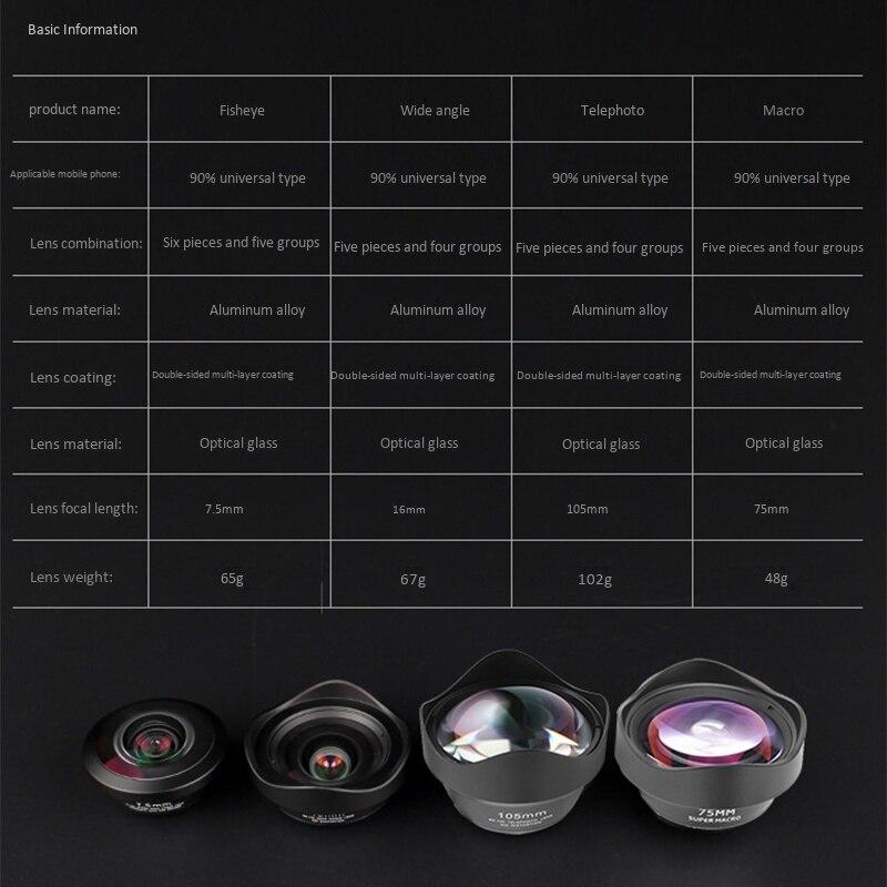 4 в 1 клип на мобильный телефон внешний широкоугольный Рыбий глаз комплект объективов для камеры Открытый HD макро телефото профессиональные аксессуары - 2