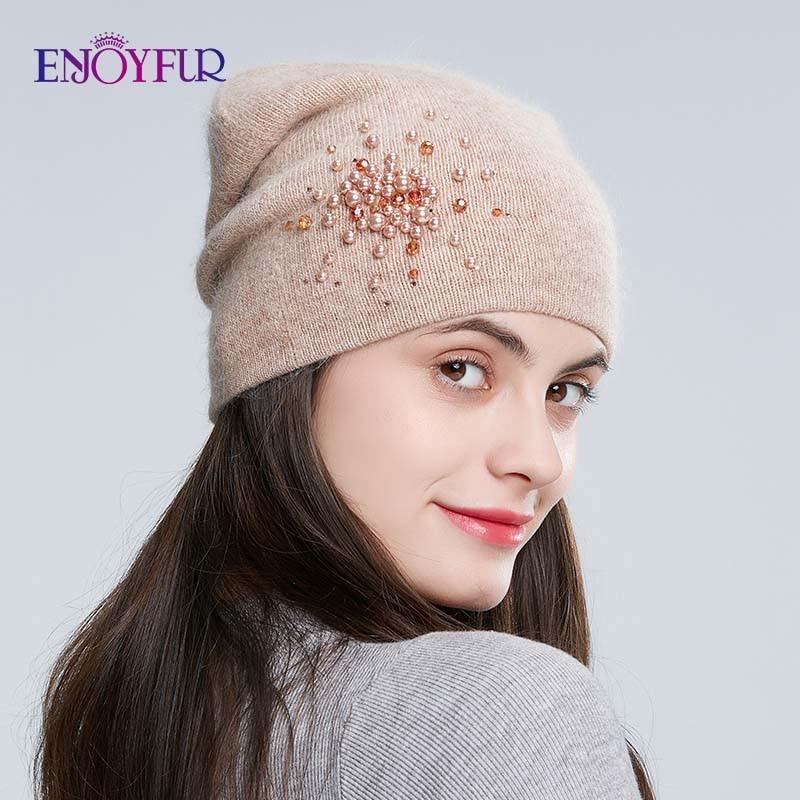 ENJOYFUR Winter Knitted Hats For Women Warm Lining Rhinestones Beanies Hat Female Brand New Good Quality Angora Rabbit Caps