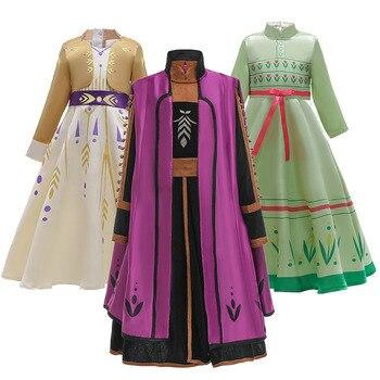 Одежда для костюмированной вечеринки для девочек; Вечерние платья принцессы Эльзы и Анны; Платья Снежной Королевы для девочек; 2 дня рождени...