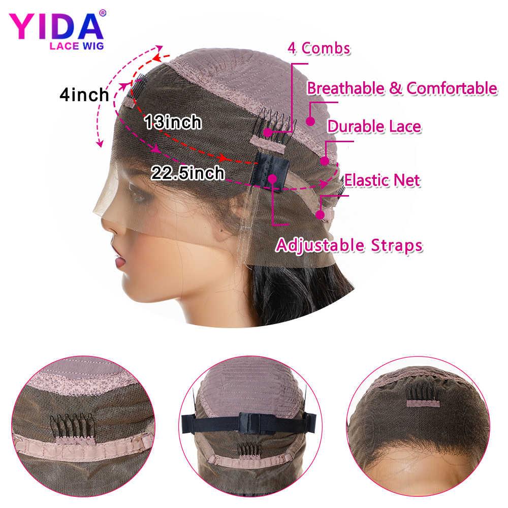 Объемная волна 360 парик фронта шнурка al высокий коэффициент Remy фронта шнурка человеческих волос парики 150% плотность предварительно сорванные с детскими волосами YiDa парик шнурка