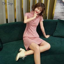 Женское винтажное атласное платье в мелкую клетку китайское