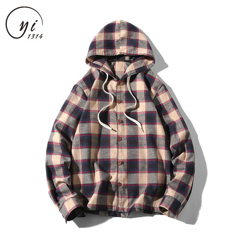Mens Plaid Flannel Shirts With Hood Mens Casual Shirts Fall Winter Men Check Shirt