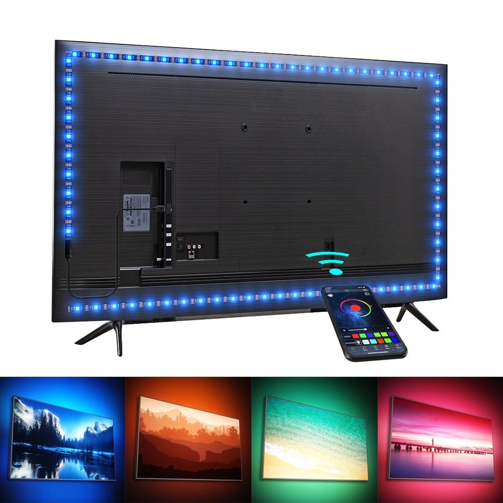 Luces Led,Tira de luces LED RGB con Control por aplicación, lámpara de cinta para decoración de fondo de TV, 5V, USB, Bluetooth
