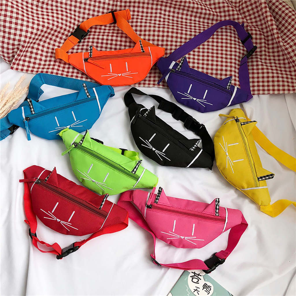 Women Waist Bag Fanny Pack For Kids Cute Cat Ear Printed Nerka Chest Canvas Pocket Money Belt Bags Women Waist Bag Sac Banane