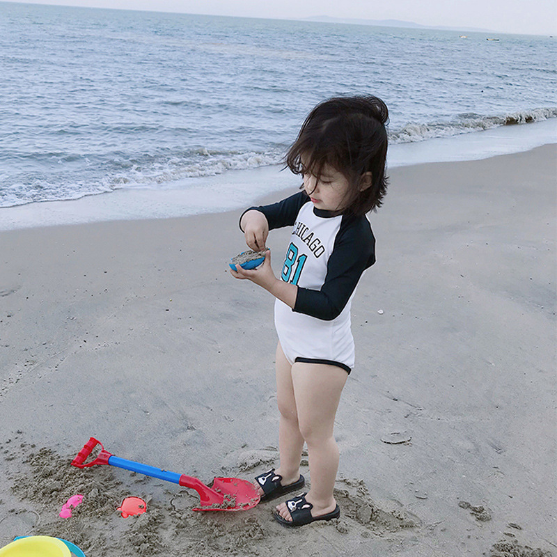 New Style KID'S Swimwear Girls Long Sleeve One-piece BABY'S Swimsuit Sun-resistant Middle And Large Small CHILDREN'S South Korea