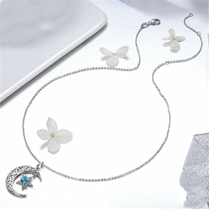 Image 4 - New Romantic 925 Sterling Silver Sparkling Moon And Star Necklaces Pendants for Women Fashion Necklace Jewelry Gift SCN278