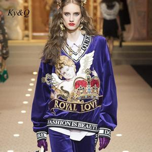 Image 2 - Женские бархатные свитера, дизайнерские пуловеры с вышивкой Angel Baby, весна 2020