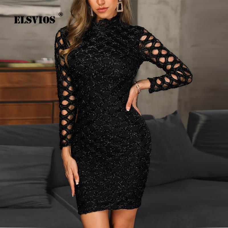 ELSVIOS Lady Sexy Hollow Out Long Sleeve Party Mini Dress Women's Sequins Bling Bodycon Club Dress  Female Casual O-Neck Dresses