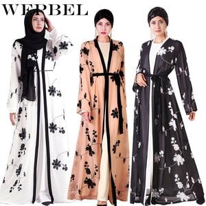 Мусульманское кимоно с цветочной вышивкой WEPBEL, Абая, турецкий кардиган, исламское платье