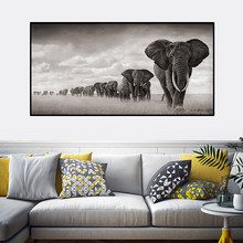 OUCAG Africa Elephants Cuadros Canvas Painting Wild Animal Scandinavia Posters and Prints Wall Art Pictures For Living Room(China)