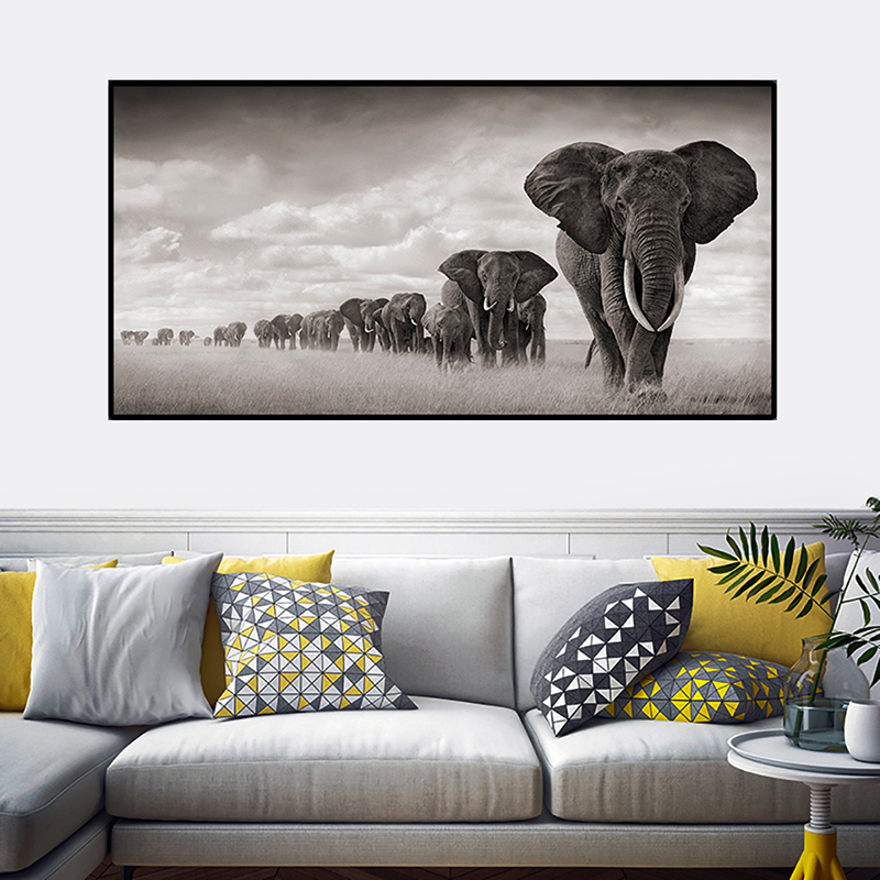 OUCAG  Africa Elephants Wild Animals Canvas Painting Scandinavia Posters And Prints Cuadros Wall Art Pictures For Living Room