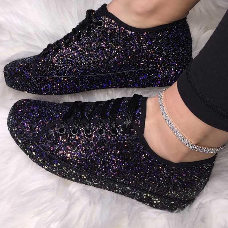 Ilkbahar sonbahar kadınlar Sneaker siyah platform ayakkabılar moda rahat nefes kristal Bling Lace Up spor ayakkabılar