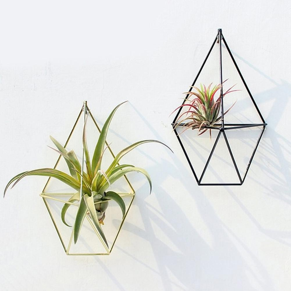 Europen Geometric Hanging Succulent Air Plants Triangle Flower Rack Holder Wall Durable Simple Design Three-dimensional Decor
