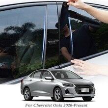 8 pçs estilo do carro para chevrolet onix 2020 presente janela do carro guarnição adesivo coluna do meio adesivos pvc externo acessórios de automóvel