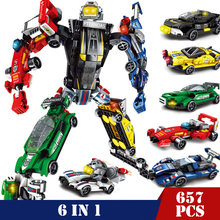 6 IN 1 Super Hero Cool Mech Transformer Robot Car Truck Building Blocks Compatible Legoed Technic Bricks DIY Toys for Children(China)