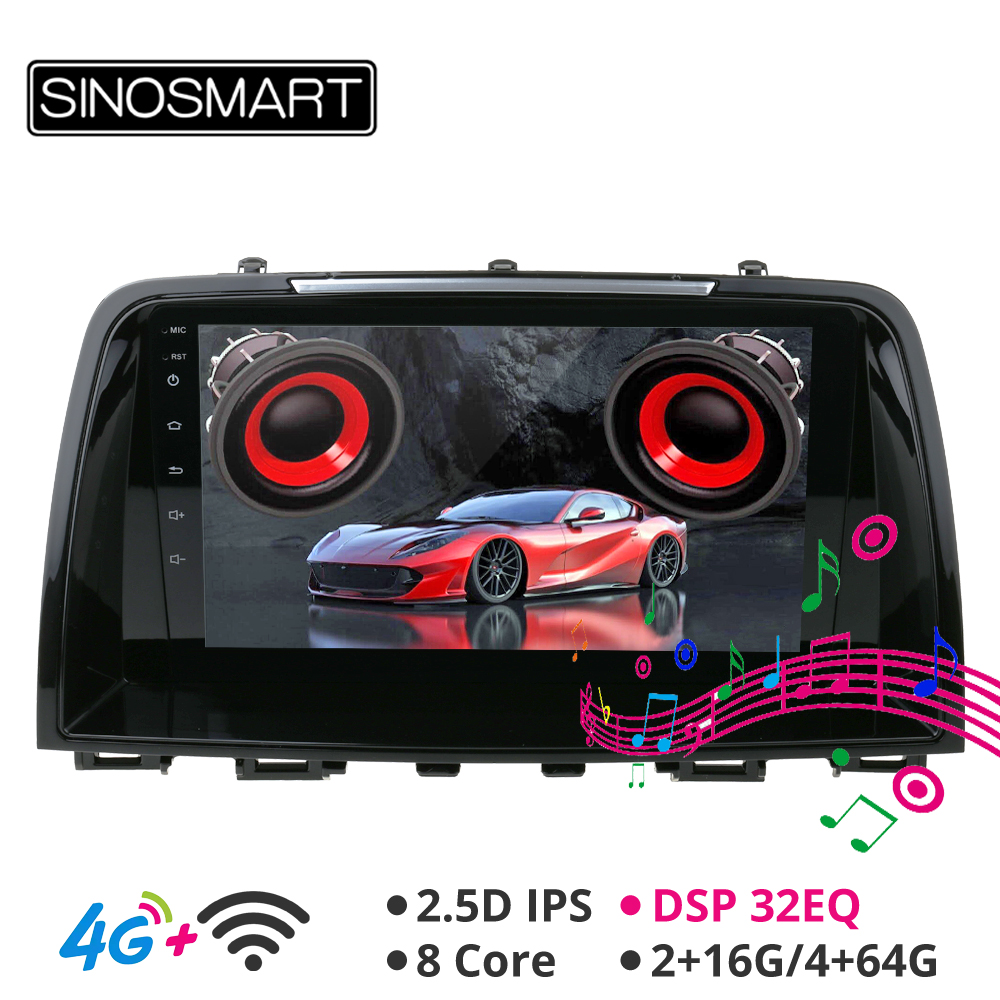 SINOSMART Android 8.1Support Bose Audio Native Camera DSP Car <font><b>Navigation</b></font> <font><b>GPS</b></font> Player for <font><b>Mazda</b></font> <font><b>6</b></font> Atenza 2012-2016 IPS/QLED Screen image