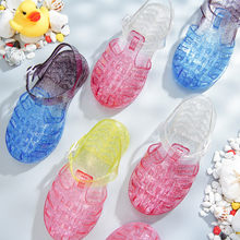 Crianças sapatos pvc macio do bebê menino sandálias de praia meninas crianças verão cristal gladiador sandálias casuais sapatos salto plano nova geléia
