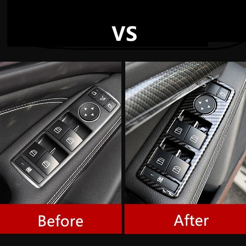 Karbon Fiber siyah araba pencere camı kaldırma düğmeleri çerçevesi Mercedes Benz a B C E G CLA CLS GLE GLS GLA GLK ML GLClass