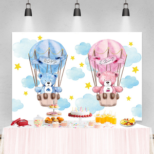 Image 4 - Laeacco Birthday Party Photography Backdrops Blue Sky White Clouds Balloons Bear Newborn Baby Shower Photo Backgrounds Photocall