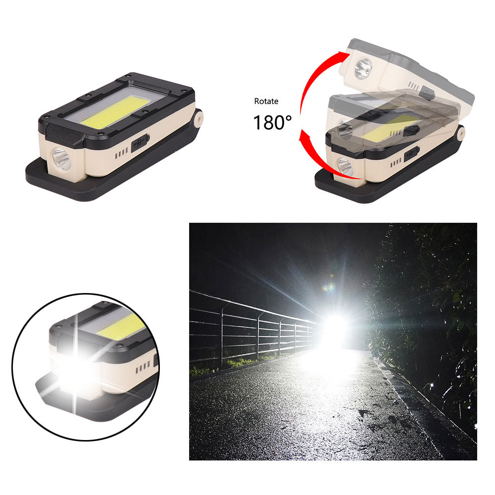 USB Rechargeable COB Work Light With Power Indicator Portable LED Flashlight With Magnetic Base For Car Repair Emergency Light