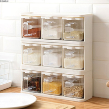Spice Rack 3 Grids Spoon Kitchen With Lid Container Seasoning Box Herb Spices Storage Condiment Jar Cooking With Handle Desktop