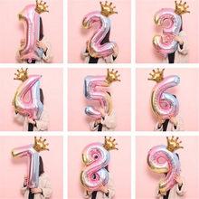 32 polegada gradiente cor dígitos folha balões feliz aniversário número arco-íris balões festa de aniversário do casamento decorações de natal